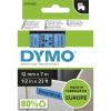 DYMO D1 LABEL CASSETTE 12mmx7m -Black on Blue