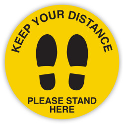 """Durus Sign """"Keep Your Distance Please Stand Here"""" Floor Adhesive Shoe Print Yellow Circle"""