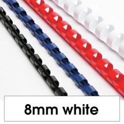 REXEL BINDING COMB 8mm 21Loop 45Sht Cap White Pack of 100