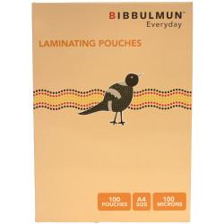 BIBBULMUN LAMINATING POUCHES A4 100 Micron Pack of 100