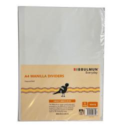 BIBBULMUN MANILLA DIVIDER A4 5 Tab White Unpunched