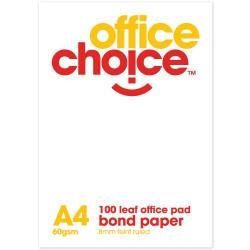 OFFICE CHOICE OFFICE PAD A4 100 Leaf Bond Ruled 60gsm