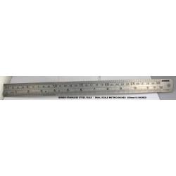 """Metal Ruler Dual Measure 30cm & 12"""""""