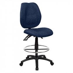Sabina Drafting Chair Curved Medium Back fully ergo - Blue Fabric