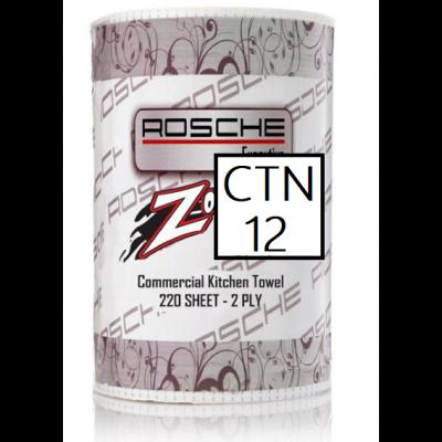 Rosche 2 Ply Kitchen Towel Perf. Jumbo 220sh  Ctn12